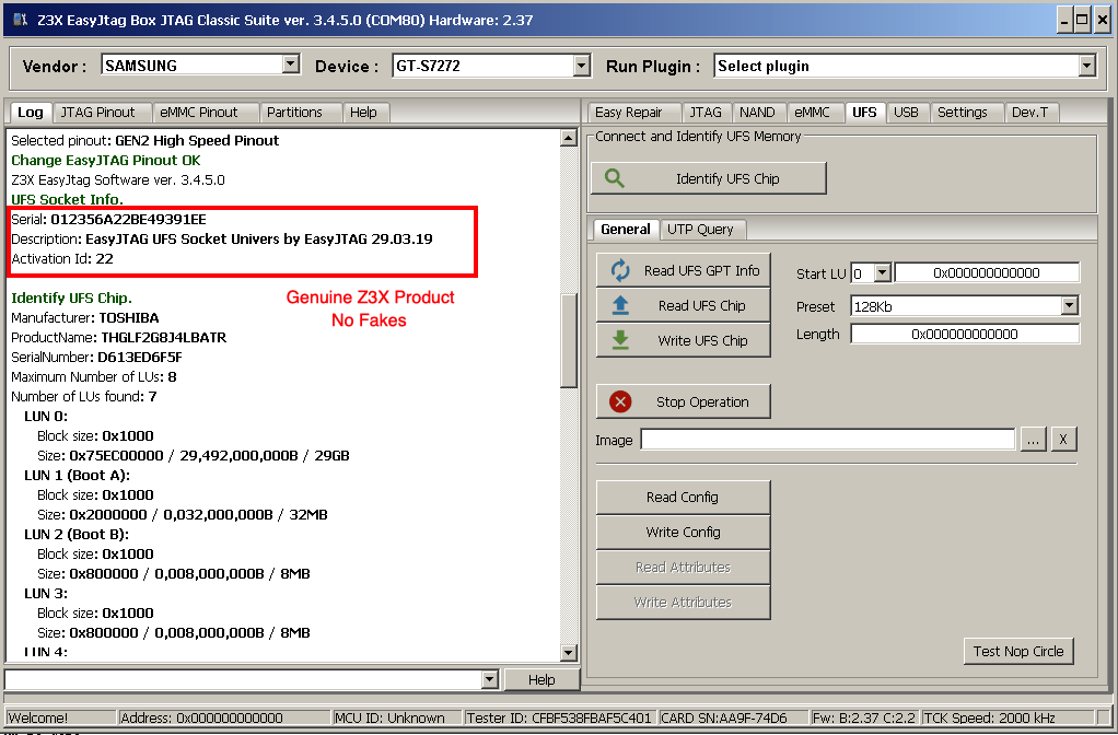 EasyJTAG Classic Software 3.5 . Added UFS support !!!